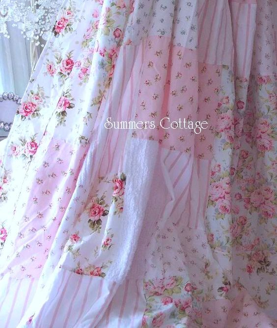 Shabby Chic Shower Curtains Blue shabby aqua blue pink cottage roses ...