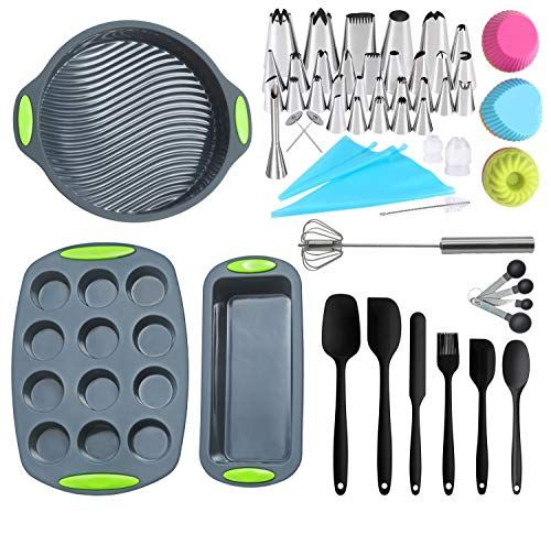 62 Pieces Silicone Bakeware Set Food Grade Baking Pans Nonstick