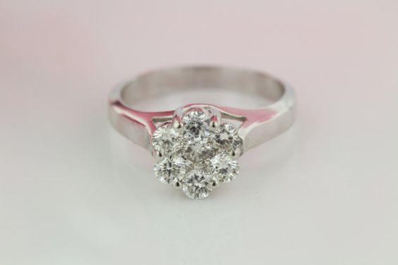 Ladies Diamond Cluster Ring: 14k White Gold by DazzlingDesigners