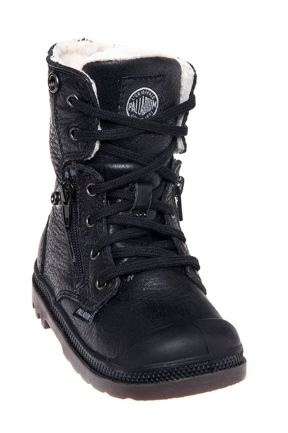 Palladium - Toddler's Baggy Leather S Combat Boot - Black Pilot at ...