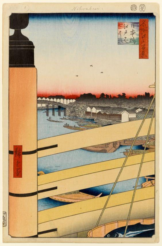 Hiroshige - One Hundred Famous Views of Edo - 43. Nihon Bridge and Edo Bridge