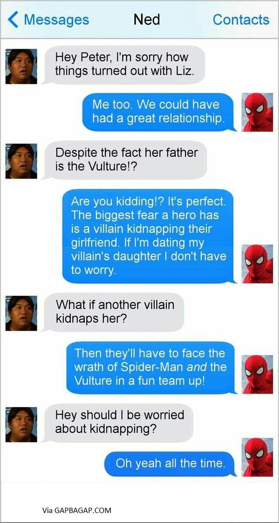 Hilarious Text About Spiderman vs.Relationship