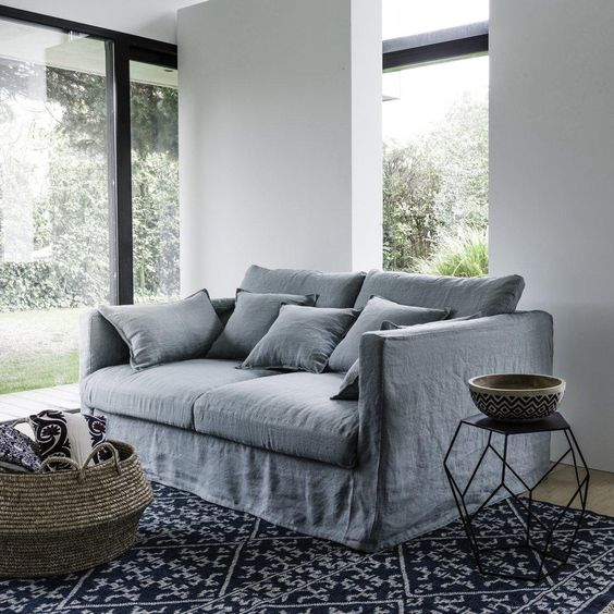 canap fixe n o kinkajou toile lin froiss bultex am pm. Black Bedroom Furniture Sets. Home Design Ideas