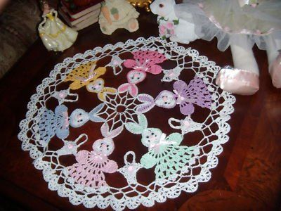 Easter bunny round crochet doily