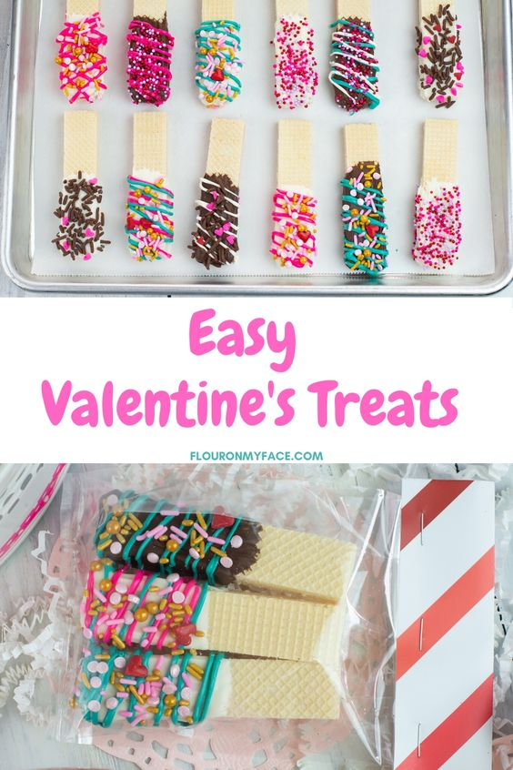 Valentines Day Chocolate Dipped Wafer Cookies