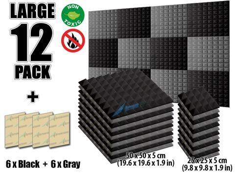 New 12 Pcs Black And Gray Bundle Pyramid Tiles Acoustic Panels Sound Absorption Studio Soundproof Foam Kk1034 Acoustic Panels Sound Proofing Sound Absorption