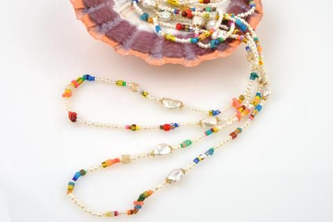 color blast pearl and beadwork necklace