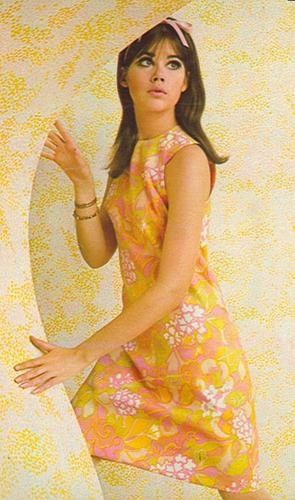 1960s orange pink dress flower power