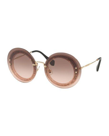 f548f4e874 MIU MIU Round Glitter-Illusion Frame Sunglasses