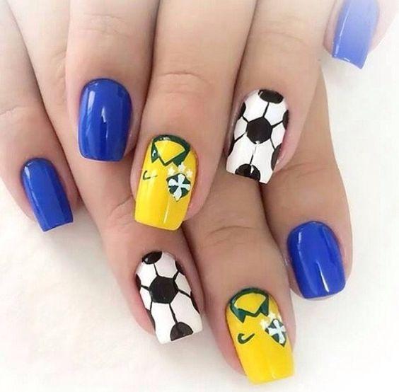 Copa do mundo Brasil nails unhas top coat