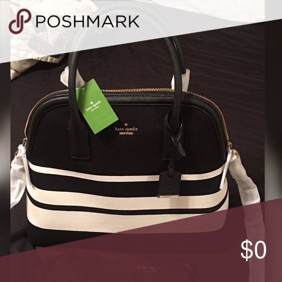 🌟🌟 NEWEST ADDITION - JUST SHARING 🌟🌟 NWT KATE SPADE ♠️ CAMRYN STREET MEGA SATCHEL. BLACK AND WHITE STRIPE. kate spade Bags Satchels