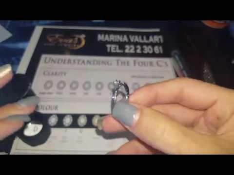 anillo de compromiso con diamantes oro blanco 14k