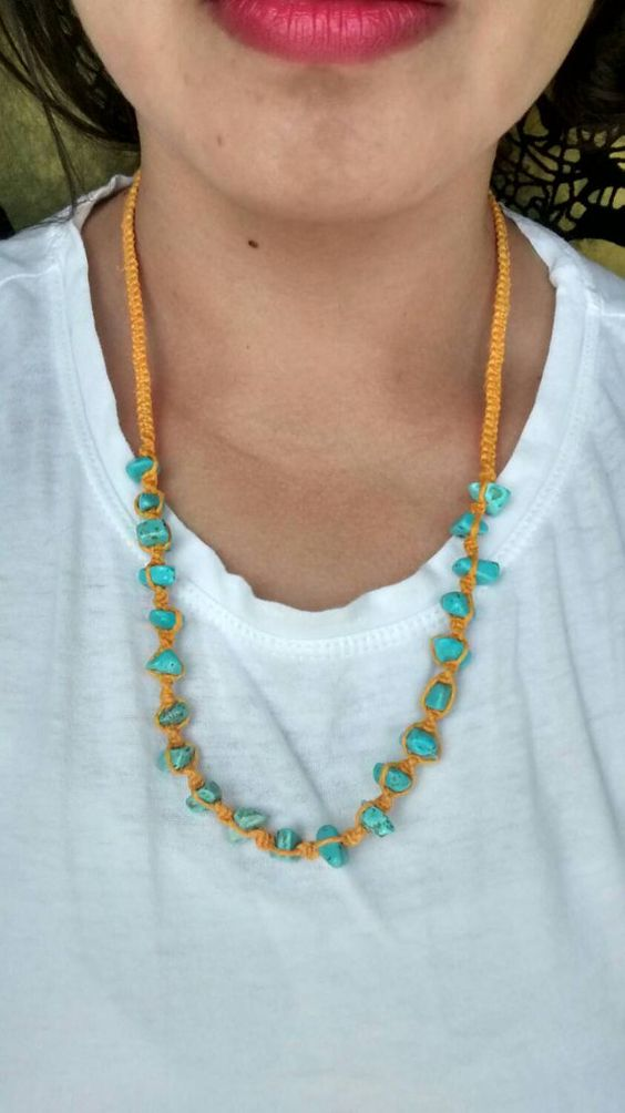 Orange hemp necklace https://www.etsy.com/listing/230064128/long-orange-hemp-necklace-with-blue