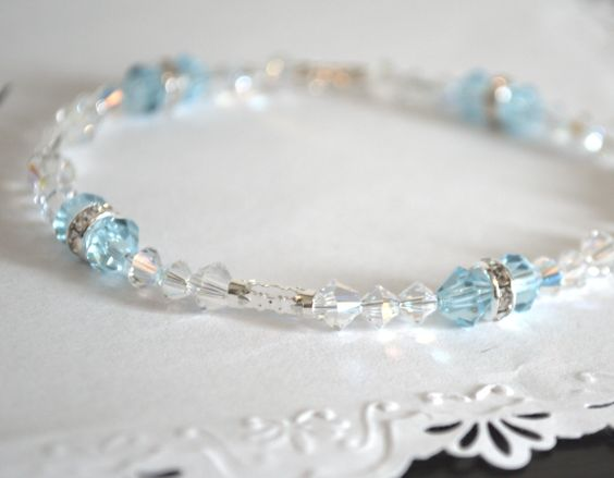 Simply sweet. Baby Blue and Crystal Clear Swarovski Crystal Bracelet, at Etsy.