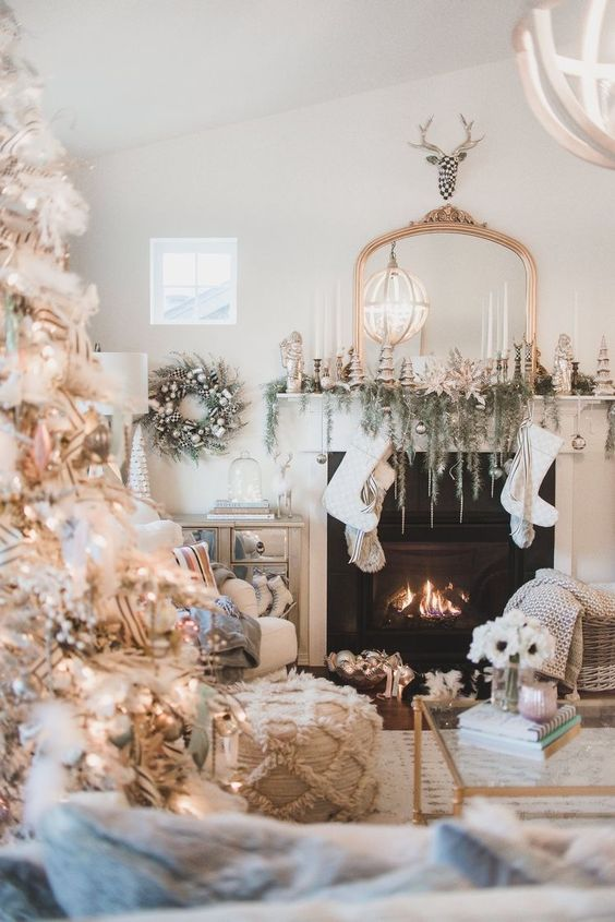 Farmhouse Christmas living room with pastels, white Christmas tree, and a coastal vibe - Wayfair.