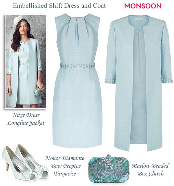 Monsoon light blue beaded shift dress and matching coat modern Mother of the Bride or Mother of the Groom wedding looks