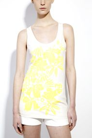 sunlight yellow tropic flowers: printed unisex Organic Cotton tank - SHOP HERE www.muriee.com