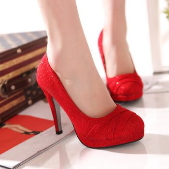 2013 bridal shoes wedding shoes red gold shoes high thick heel ...