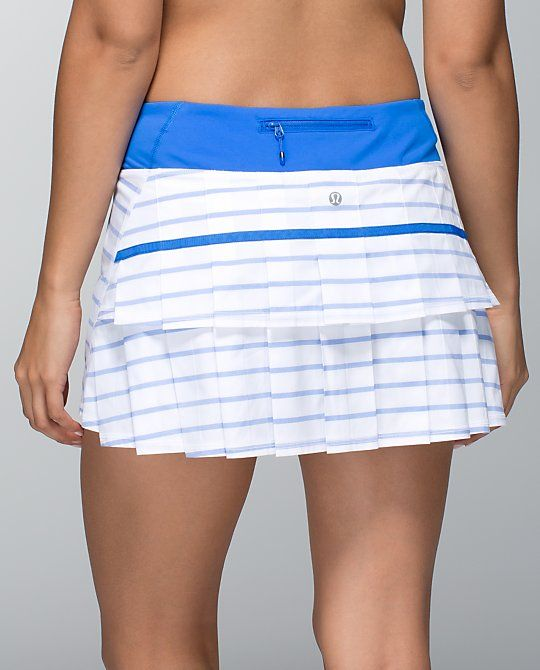 blue and white tennis skirt working out