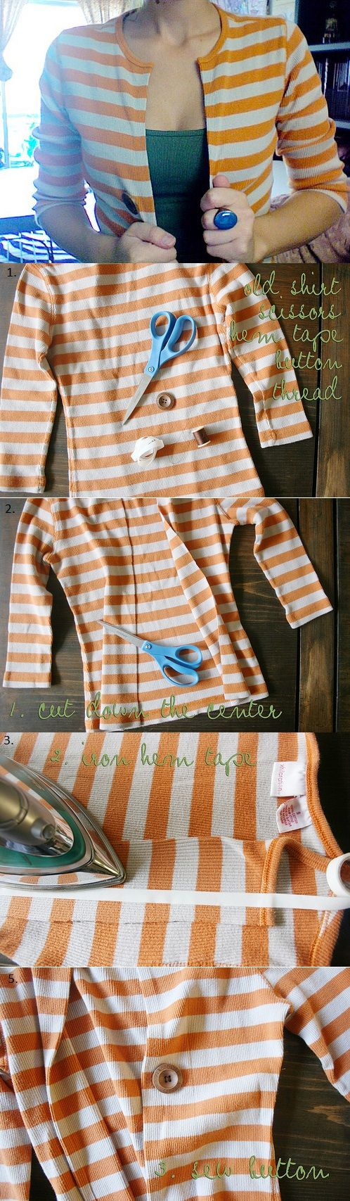 Cardigan Out of an Old Shirt – DIY: