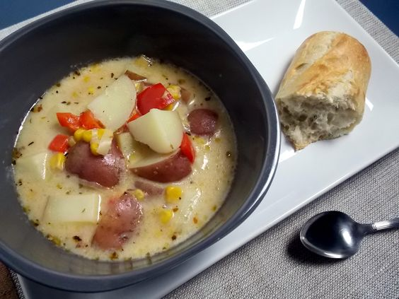 Potato and corn chowder is kicked up with the addition of Cajun seasoning and fire roasted corn. Great way to beat the winter and dreary day blues!