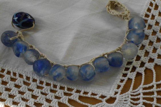Armbänder - Glasperlenarmband gehäkelt Recycling - ein Designerstück von perlenchris bei DaWanda