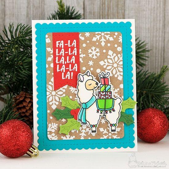 Fa La La La Llama Card By Juliana Michaels Llama Delivery Stamp Set And Snowfall Stencil By Newton S Nook Designs Christmas Cards 2017 Cards Christmas Cards