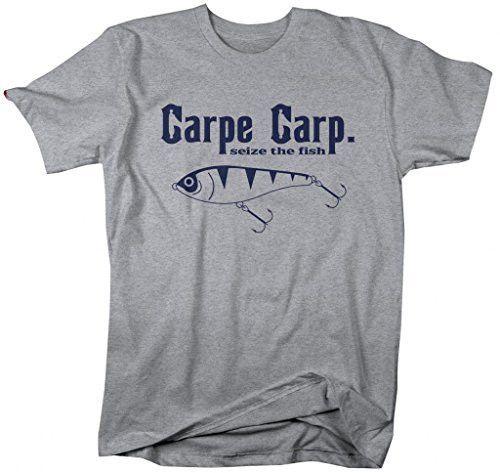 Shirts By Sarah Men's Funny Fishing T-Shirt Carpe Carp seize The Fish