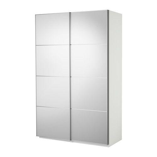 IKEA PAX Wardrobe (white) with Auli mirror glass sliding
