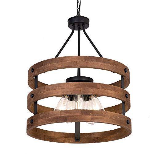 Deralan Modern Rustic Chandelier Circular Wood Chandelier Https