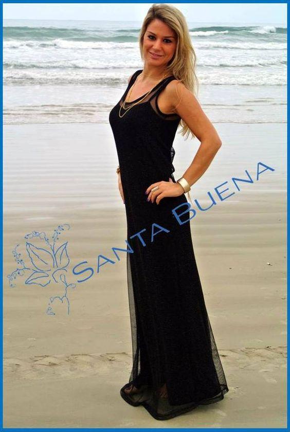 Vestido longo sobreposto de telinha #vestidos #dresses #festa #party #black #sale #SantaBuena