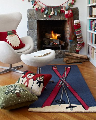 Garnet Hill Ski Wool Hooked Rug Collection, illustrated by MWood