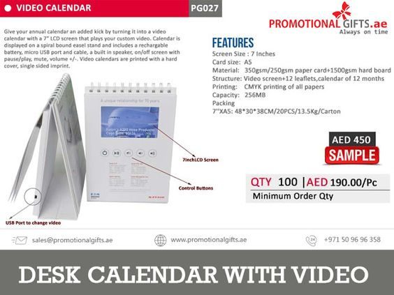 promotionalgiftsinuae Corporate Promotional products Dubai - sample annual calendar