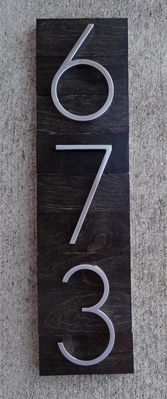 House numbers plaque on ebony stained wood by thedetailed for Front door number plaques