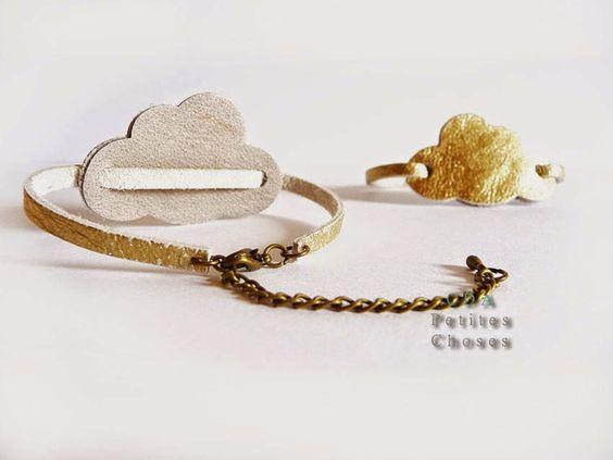 """petites choses: Bracelet en cuir """"cloud"""" or"""