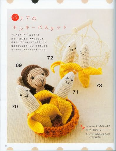 Amigurumi Banana Crochet Pattern Free : FREE Amigurumi Monkey with Banana Crochet Pattern and ...