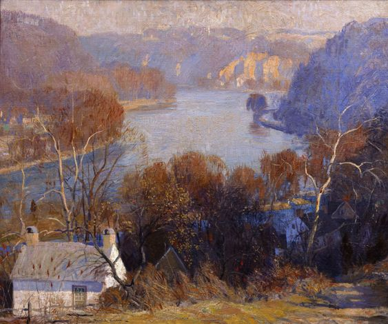 Daniel Garber (American 1880–1958) [Impressionism, Landscape] Down the River, 1917. Scripps Collection. Scripps Collection Highlights | Ruth Chandler Williamson Gallery