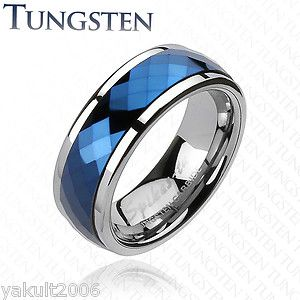 Tungsten Carbide Blue IP Multi Faceted Prism Cut Spinner Men's Ring Wedding Band | eBay