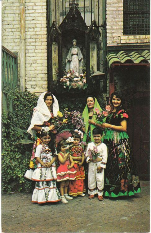 A family visiting the a shrine of Our Lady of Purissma- vintage postcard.