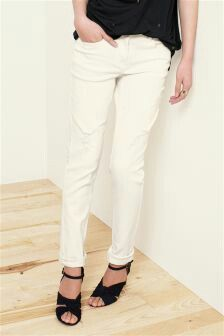 Off white relaxed skinny jeans by Next... http://www.next.co.uk ...
