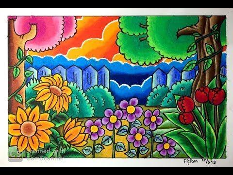 Cara Menggambar Pemandangan Kebun Bunga Dg Gradasi Warna Youtube Seni Krayon Gambar Buku Mewarnai
