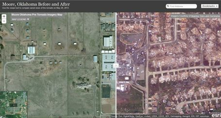 Tornado 2013 in Moore, Oklahoma - Before and After