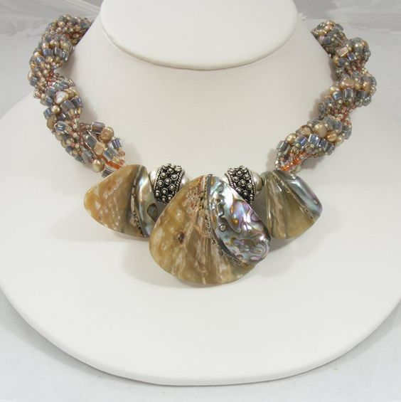 Abalone Handwoven Necklace Neutral Colors by Sweet Freedom Designs. $215.00