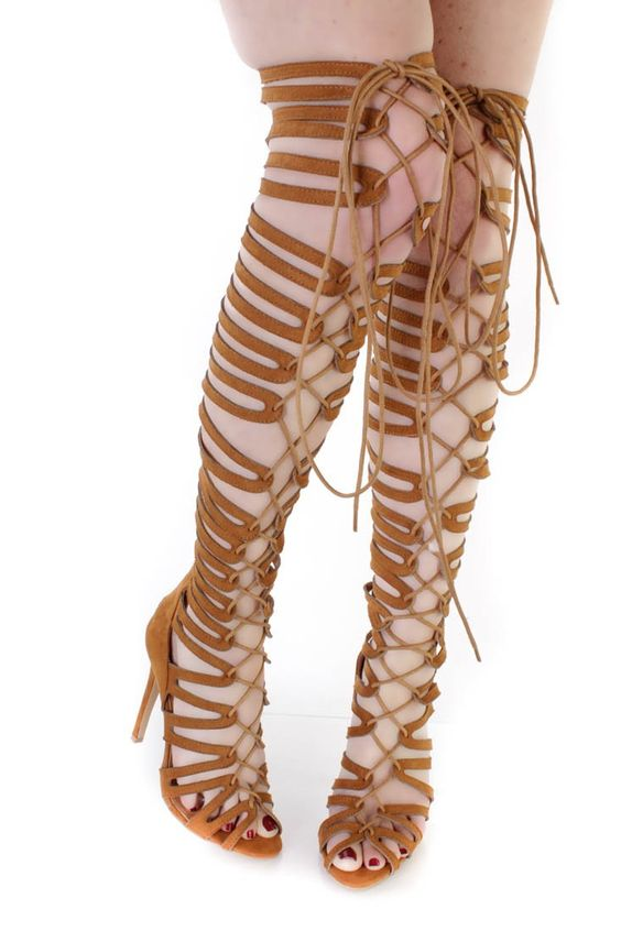 Camel Thigh High Single Sole Gladiator Heels Faux Suede ...