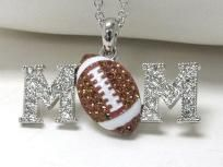 Crystal Football Mom Necklace