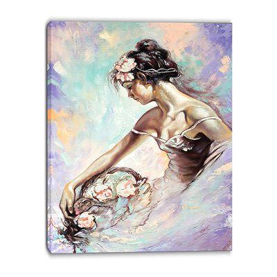 Designart Canada PT6273 Girl with Flower Bouquet Canvas Art