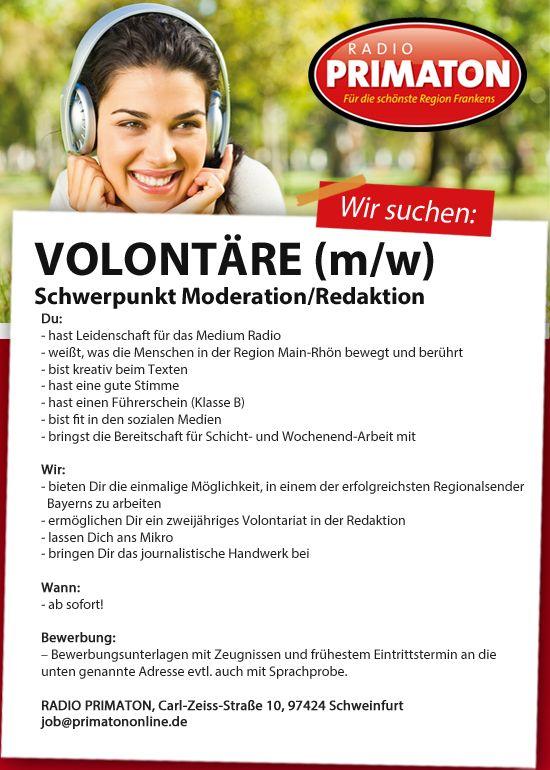 RADIO PRIMATON sucht Volontäre (m/w) Schwerpunkt Moderation/Redaktion