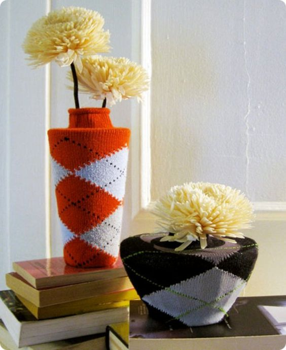 DIY Recycled Argyle Sock Covered Vases/Cozies