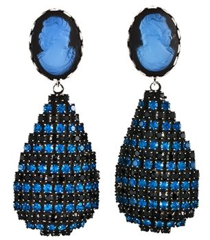 """Diaz Earrings in Blue by Dannijo. Adorn yourself with sophistication with these lovely crystal earrings. The blue antique deco top is completed with a dazzling teardrop of blue and black Swarovski crystals. Handmade with Swarovski crystals and measure 2"""" long. http://www.oxygenboutique.com/p-1245-diaz-earrings-in-blue.aspx"""