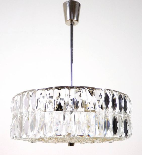 1960s Austrian Crystal and Textured Glass Chrome Chandelier | From a unique collection of antique and modern chandeliers and pendants  at https://www.1stdibs.com/furniture/lighting/chandeliers-pendant-lights/
